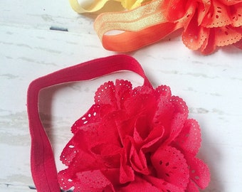 Red Eyelet Ruffle Flower Headband
