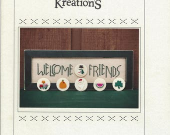 """Clearance - """"Buttoned Welcome Friends"""" Counted Cross Stitch Chart by Poppy Kreations"""