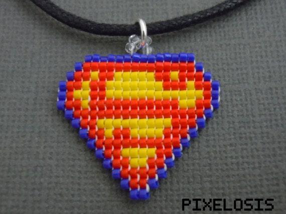 Glass Bead Pixelated Superman Symbol Necklace Comic Book