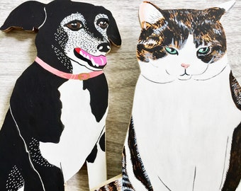 """Custom Wood Cut-out Pet Portrait - Full Body - 1/2"""" thick - Completed by June 30"""