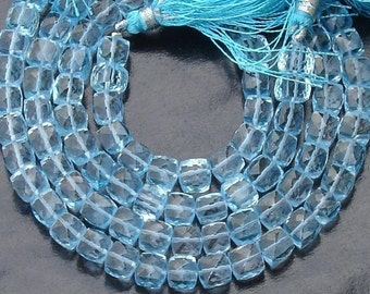 Full 7 Inch Strand, Super Finest Quality,Blue Topaz Faceted 3D Cubes Beads,6mm Size,AAA Quality Best Price