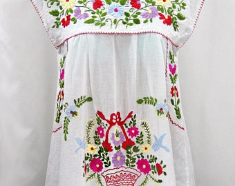 """Embroidered Mexican Peasant Top Cap Sleeves: """"La Boqueria"""" in White with Multi-color Hand Embroidery ~ Size MEDIUM"""