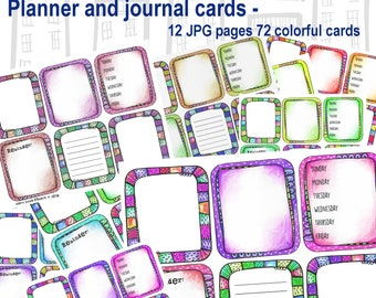 Planner and journal cards -- 12 jpg pages - 72 card images