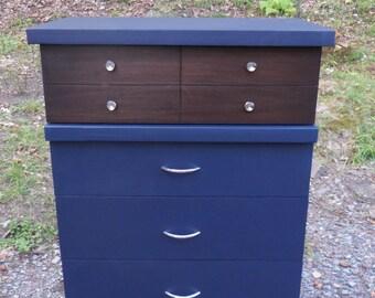 Navy Blue Dresser , Mid Century Dresser , Vintage Dresser , Painted Dresser , Painted Furniture , Up-cycled Dresser