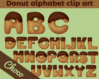 Chocolate donut alphabet clip art | Doughnut font - Letter clip art | Printable Digital Illustration