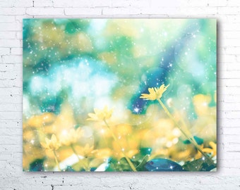floral wall art - pastel flower photography - pale yellow and aqua decor