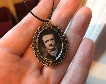 Edgar Allan Poe Portrait Charm Necklace