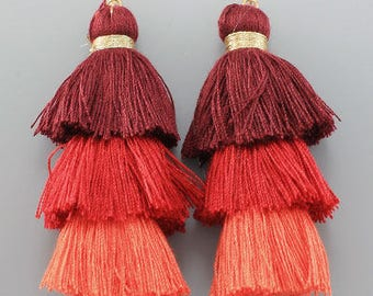 Red Ombre Layered Thread Tassel Earrings