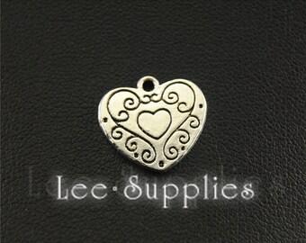 20pcs Antique Silver Love Heart Charms Pendant A1594