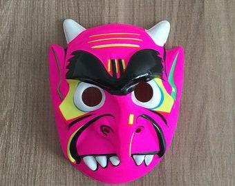 Vintage halloween mask - illustrated neon pink illustrated demon