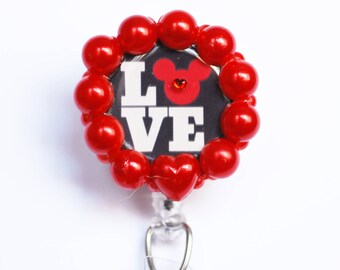 Valentine's Day And Mickey Mouse ID Badge Reel - Retractable ID Badge Holder - Zipperedheart