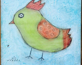 Folk Art Bird Painting - Chicken Painting - Watercolor Painting - Chicken Art - Bird Art - Bird Lovers - Folk Art Painting
