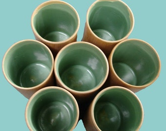 Sustainable Vintage Bamboo Drinking Glasses Cups Set of 6 Plus a Bonus Cup
