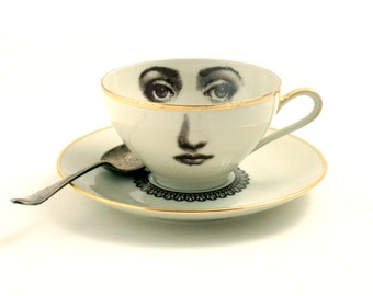 Altered Porcelain Cup Coffee Tea Saucer Woman Face Lace Collar Vintage Sugar-White Brown Romantic whimsical