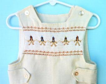 Handmade Vintage Beige Smocked Infant Tribal Romper  18 Months