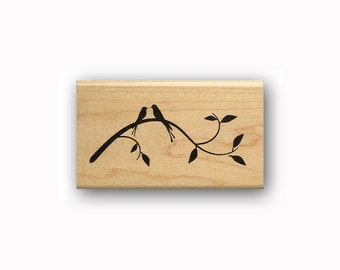 Birds on Branch Silhouette mounted rubber stamp, spring, summer, love, nature, friendship, Sweet Grass Stamps #23