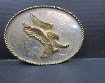 brass Eagle belt buckle and  hand etched silver