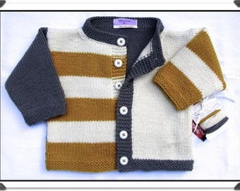 """NEW! Hand-Knit """"GINGERSNAP"""" Front-Button Cardigan Sweater for Baby/Toddler Boy - Gray/Gold/Ecru - Easy-care Machine Washable Acrylic Yarn"""