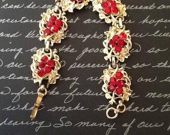 Vintage Gold Filled 1950s Red Rhinestone Bracelet Excellent Condition