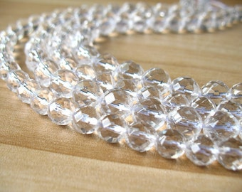 "Natural Clear Quartz Beads Round Faceted Cut Rock Crystal Quartz Ball Beads Wholesale 6mm 8mm 10mm 12mm 14mm Beads 15"" Strand"
