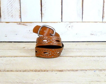 Studded tan brown leather vintage boho statement belt/cut out western belt/small/medium