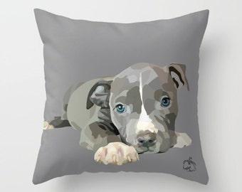 Pit Bull Terrier Puppy, Home Decor Pillow Cover 18x18, Custom Graphic Art, Cute Pitbull