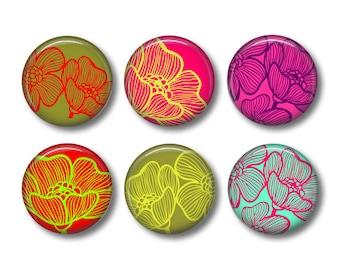 Floral pinback button badges or fridge magnets, fridge magnet set
