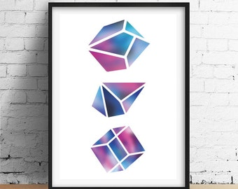 Gem Print, Wall Decor, Crystal Print, Crystal Poster, Geometric Print, Minimal Art, Modern Art, Abstract