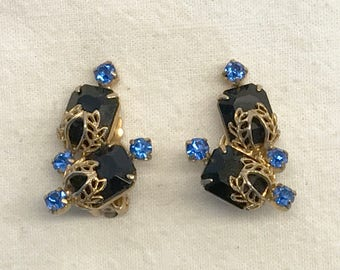 Vintage Rhinestone Filigree Clip-On Earrings
