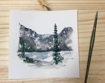 Mountains and Trees | Landscape | Watercolor | Original | Handpainted