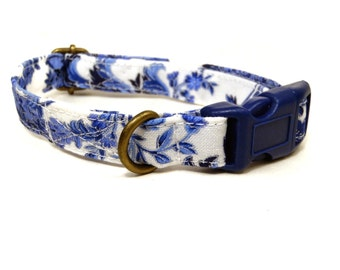 The Royals - White Blue Vintage Floral Shabby Chic Girl Organic Cotton CAT Collar - All Antique Metal Hardware