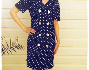 1980s Navy Polka Dot Dress