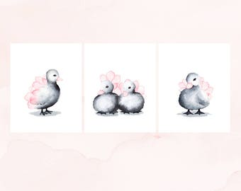 Nursery Decor for Baby Girl Set of 3 Duckling Prints, Watercolor Nursery Art Prints, Watercolour Decor for Baby Girl, Pink Kids Room Art