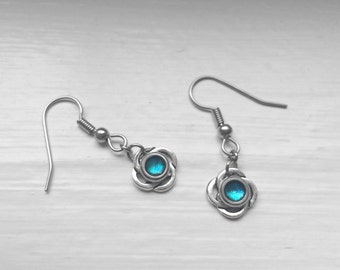 Aqua Earrings Dangle, Celtic Jewelry, Bridesmaid, Hypoallergenic Stainless Steel French Earring Hooks