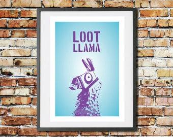 Fortnite - Llama - Battle Royale - Gifts - Fortnite Game - Gamer - Prints - Room Decor -Birthday - Xbox - PS4 - Printable - Loot - Birthday