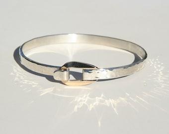 14k & Sterling Buckle Bracelet ~ Belt Buckle Gold Buckle Gold Accent Clasp Modern Design