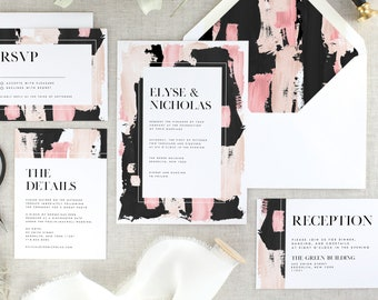 Black and White Wedding Invitation Blush - Modern Wedding Invitation Suite - Pink Wedding Invitation - Wedding Invites Printed - Set of 10