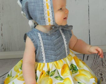 Geneva Bonnet, Lucerne Baby Romper & Dress, Lucerne Girls Dress PDF Sewing Pattern Bundle, Girls Sewing Patterns