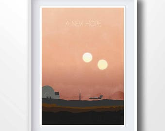 STAR WARS poster, a new hope, trilogy, movie print, lucas, skywalker, princess leia, minimalist prints, sci-fi poster, tatooine, 2169