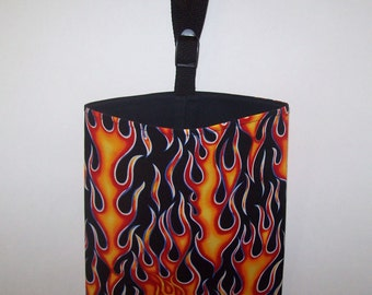 Car Litter Bag // Auto Trash // Auto Litter Bag // Stay Open Design! // Flames