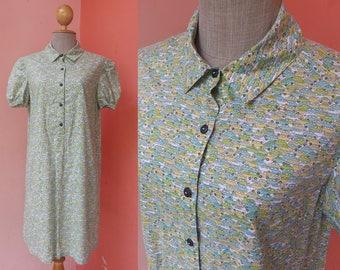Vintage Dress Women Dress Summer Dress Casual Dress Sundress Day Dress Print Dress Cotton Dress Collar Dress Short Sleeve Dress Mini Dress