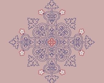 Anemone major Alba by Pugin Blackwork embroidery pattern, counted cross stitch, cross stitch chart, Instant download PDF