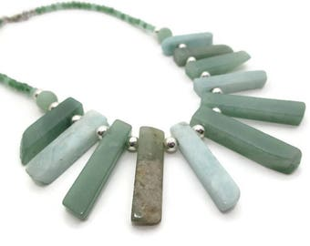 Aventurine and Amazonite Spike Necklace