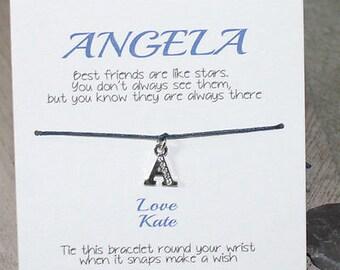 Friendship Bracelet Personalised - Christmas Gift Wish Bracelet Letter Charm