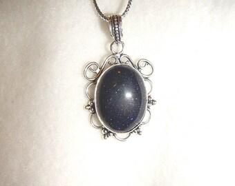 Blue Goldstone pendant necklace in silver (P610)
