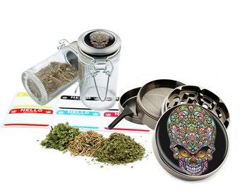 "Skull Psychedelic - 2.5"" Zinc Alloy Grinder & 75ml Locking Top Glass Jar Combo Gift Set Item # 110514-0031"