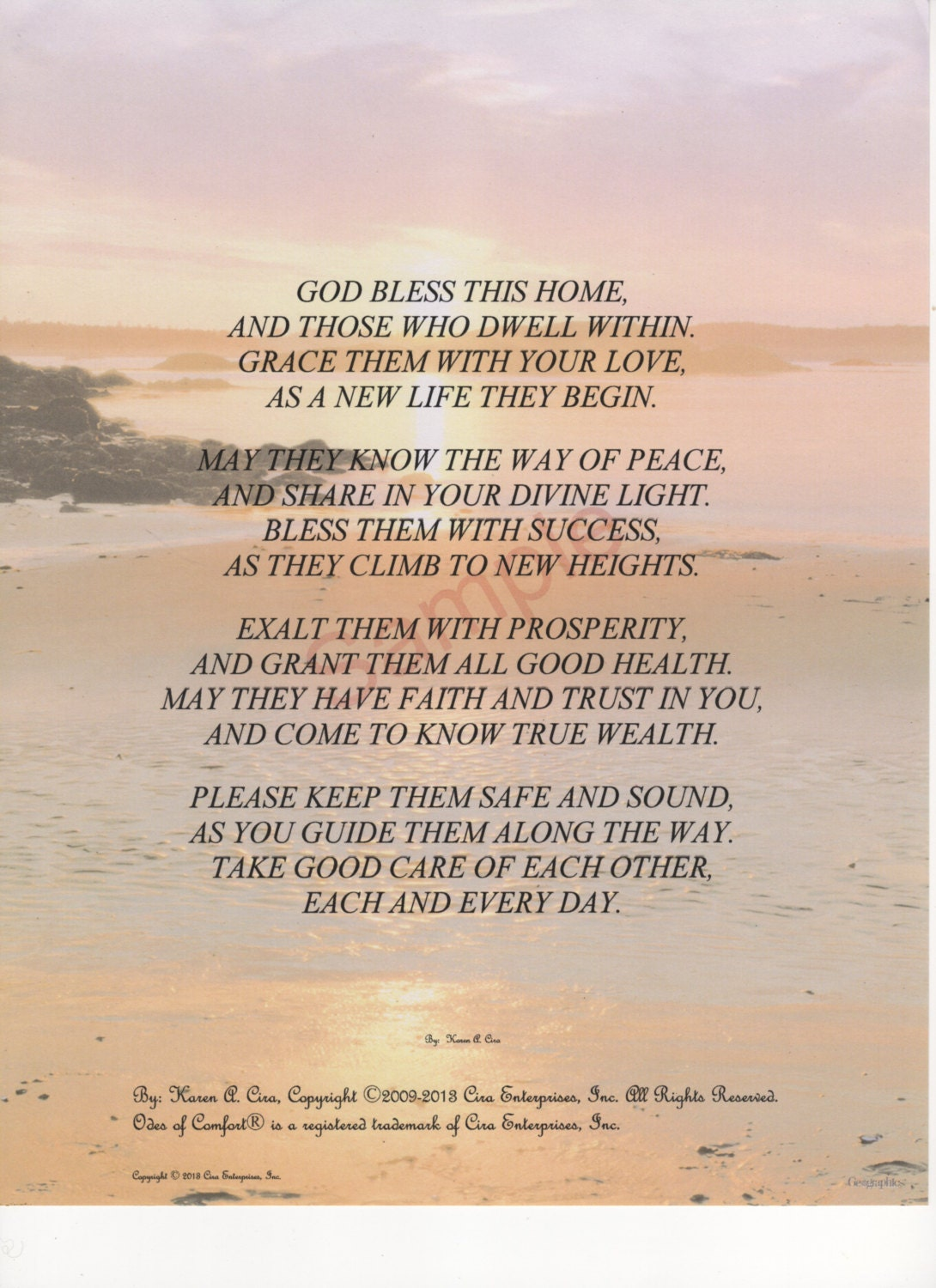 Four Stanza God Bless This Home Poem Shown On