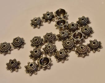 Bali Sterling Silver Daisy Bead Caps Lot 9mm  22 pieces