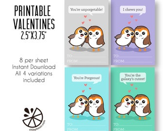 Porg Valentine Card Kids Printable INSTANT DOWNLOAD PDF