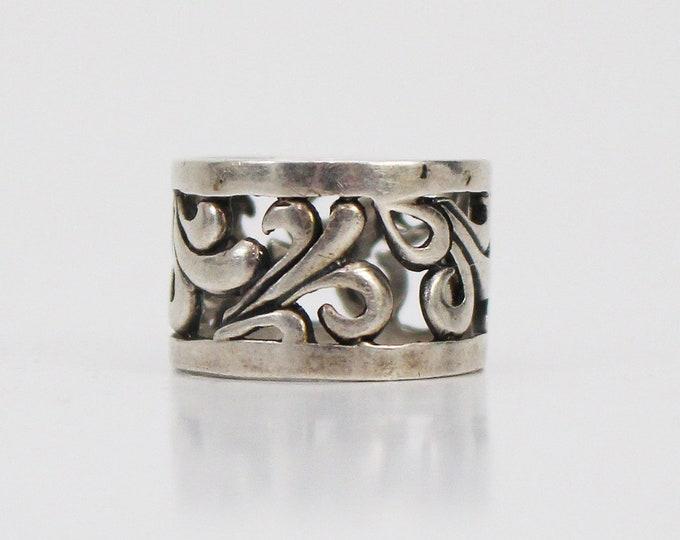 Vintage 1970s Carved Silver Boho Ring - Size 6